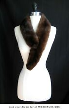 Brown Mink Fur Scarf , Mahogany Real Fur Stole , Vintage Gift , Winter Accessory