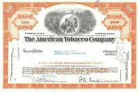 The American Tobacco Company 100 Share Common Stock Certificate 1960's