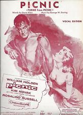 ORIGINAL 1955 THEME FROM PICNIC MOVIE SHEET MUSIC/ WILLIAM HOLDEN KIM NOVAK