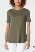 NEW J. JILL S M L XL Boat-neck Shirttail Tee Elbow Slv Shirt Cotton Olive Green