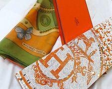 """Hermes Scarf Shawl Mousseline """"Farandole des Champs"""" 140cm - 100% Authentic Box"""