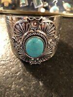 Large BoHo/Western Cuff Bracelet with Large Blue Insert Statement Piece