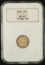 1907 Barber Dime NGC MS 63 1st Generation Slab with Attractive Toning