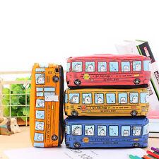 BL_ KE_ CO_ Creative Bus Shape Canvas Pen Pencil Case Bag Box Kids Boys School G