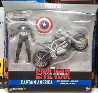 Marvel Legends Series Civil War Captain America 3.75 Figure and Bike