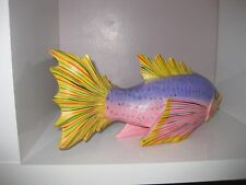 fish hand carved in wood many colours and very verybright
