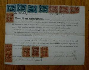 Antique 1864 Guardian Bond-Floyd County Ga-12 1866 Doc Stamps-Civil War-Ware