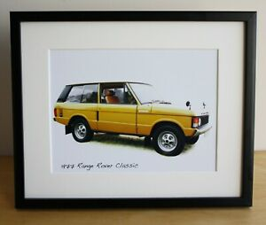 Range Rover Classic 1977 - 4x6 or 8x10in Photo in Black, White or Silvery frame.