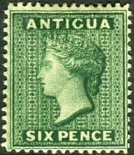 More details for antigua-1884-87 6d deep green.  a mounted mint example sg 29