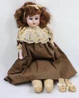 "Antique German Ernst Heubach W Mark  Horseshoe 14"" Bisque Shoulder Head Doll"