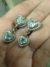 Judith Ripka sterling silver double heart  blue topaz Diamonique earrings
