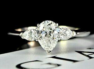 $15,500 GRAFF GIA Platinum 1.02ct Promise Pear G VS1 Diamond Engagement Ring