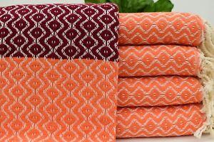 40x70 inch -100x180 cm Orange Turkish Towel Big Diamond,Iso-Su
