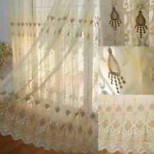 European Embroidered Curtains Net Fabric Tulle Window Drape Pelmets Sheer Screen