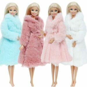 Barbie Princess Fur Coat Dress Accessories Clothes for Barbie Dolls Toys New