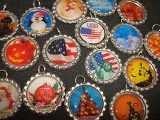 LOT OF 50 CUSTOM ORDER Bottle Cap Bling Charms Split Rings Attached DIY Crafts
