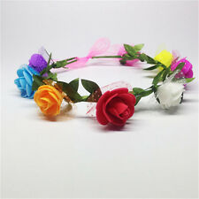 Flower Headband Head Red Elastic Hair Band Party Wedding Accessories Ladies Girl