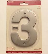 """Brainerd Door House Address Street Number #3 Brushed Satin Nickel 5"""" 127mm 5 in"""