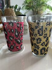 Rhinestone TMD Holdings Drinking Glasses, Pink and yellow (2)