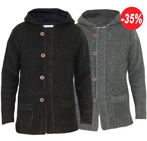 Cardigan uomo maglione Giacca Lana Pullover maglia zip Felpa con cappuccio 2315