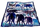 "Batik on Heavy Canvas Large 62"" Square Wallhanging Art Elephants Crocodile"