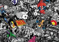 Marvel stickerbomb wrap sheet (VEHICLE CAST VINYL) 1.3m X 2m COMIC -B&W & COLOUR