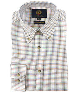 Viyella Russet Mini Tattersall 80/20 Cotton Wool Blend Button Down Collar Shirt