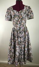Vintage Laura Ashley Blue Floral Puff Sleeve Sweetheart Neck Dress US 8 FLAW