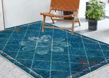 3D Retro Blue Floral Non-Slip Rug Door Shower Play Mat Hearth Floor Carpet 22