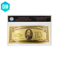 Business Gifts 10 Dollar 1928 Year 24k Color Gold Banknote Home Decorative Bills