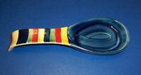 "Tabletops Unlimited Swirl Multicolor Spoon Rest / Holder (9.5"") Stripes NICE HTF"