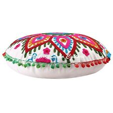 """Seat Pillow Round Embroidered Suzani Floor Cushion Cover Indian Cotton 18"""""""