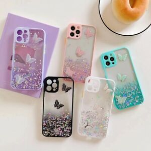 Girls Butterfly Case for iPhone 13 12 11 XR 7 8 Transparent Soft TPU Phone Cover