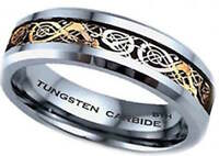 New Boxed 6MM Tungsten Carbide Gold Celtic Dragon Inlay Mens Wedding Band Ring