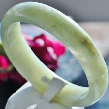 Natural Nephrite jade 58mm semitransparent green bangle bracelet 49.7gr