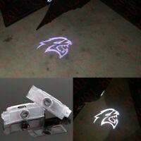 2x Led Light Door Projector Welcome Hellcat Logo Emblem Kit For Dodge Challenger