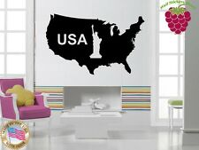 Wall Stickers Vinyl Decal USA Map Statue of Liberty Patriotism ig840