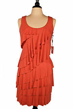 New With Tag Calvin Klein Red Summer Jersey Ruffle Dress.(Retail $129.00) Size 6