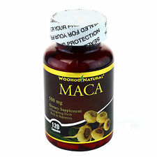 WooHoo Natural® Maca 500 mg 120 Caps, Energizing Herb Rich in Saponins FREE SHIP