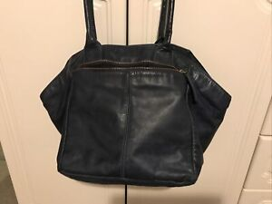 & Other Stories Navy Blue Leather Tote Large Handbag Shoulder Bag Two Handles VG