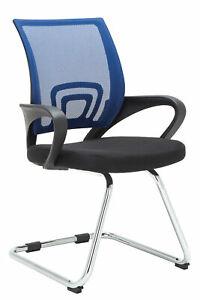 #R44607/0406 Besucherstuhl Eureka blau Wartezimmerstuhl Freischwinger Lehnstuhl