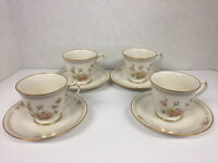 """Noritake """"Cervantes"""" Ivory Tea Cups and Saucers - Set of Four (Vintage)"""