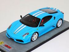 Looksmart Ferrari 430 Scuderia Baby Blue with white stripe wheels Alcantara 1/18