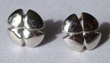 boucles d'oreilles percées clou trèfle 4 feuilles couleur argent 3427