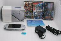 Sony PSP-3000 Console MYSTIC SILVER w/ Box , Charger & 3Games Set Japan import