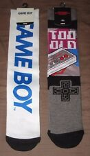 2x Nintendo GAME BOY & NES Controller Never Too Old Mens Crew Socks - 8-12 - NEW