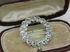 PRETTY VINTAGE 50/60'S SILVER PLATED MARCASITE SYMBOLIC ETERNAL WREATH BROOCH
