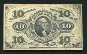 FR. 1255 10 TEN CENTS THIRD ISSUE FRACTIONAL CURRENCY NOTE ABOUT UNCIRCULATED