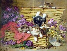 Kittens at Play Tile Mural Kitchen Bathroom Wall Backsplash Ceramic 17x12.75