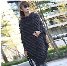 Lady's Fashion Real Fur Coat Jacket Cape Poncho Vest Amice Rabbit  Knit On Yarn